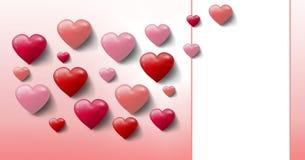 Corazones burbujeantes de las tarjetas del día de San Valentín con la caja vacía Fotografía de archivo libre de regalías
