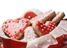 corazones cocidos para el día de tarjeta del día de San Valentín Fotos de archivo libres de regalías