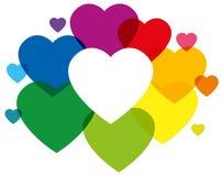 Corazones coloreados arco iris Fotografía de archivo libre de regalías