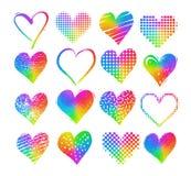 Corazones coloreados arco iris del Grunge libre illustration