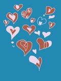 Corazones coloreados del garabato de la tarjeta del día de San Valentín fijados Foto de archivo