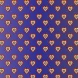 Corazones coloreados en el fondo azul violeta de la pendiente Imagen de archivo libre de regalías