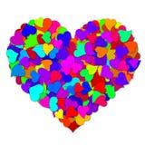 Corazones coloridos que forman el corazón grande del día de tarjetas del día de San Valentín Imagen de archivo