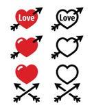 Corazones con la flecha, amor, iconos de las tarjetas del día de San Valentín fijados Fotos de archivo