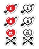 Corazones con la flecha, amor, iconos de las tarjetas del día de San Valentín fijados Imagenes de archivo