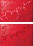 corazones con la ilustración roja del fondo de las rosas fotografía de archivo libre de regalías