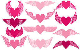 Corazones con las alas Imágenes de archivo libres de regalías