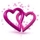 corazones conectados rosados 3d,   ilustración del vector