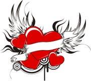 Corazones cons alas Imágenes de archivo libres de regalías