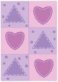 Corazones de Appliqué en un cuadro rosado del fondo Fotos de archivo libres de regalías