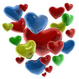 Corazones de colores. Hearts of colors (red, yellow, blue, green Stock Image