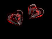 Corazones de cristal rojos Foto de archivo libre de regalías