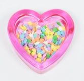 Corazones de cristal rosados con las estrellas Foto de archivo