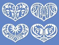 Corazones de encaje, formas de la greca del corte del laser, símbolos del vector del amor del recorte del trazador stock de ilustración