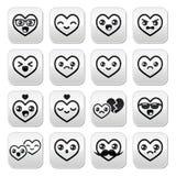 Corazones de Kawaii, botones lindos del día de tarjeta del día de San Valentín fijados Fotografía de archivo libre de regalías