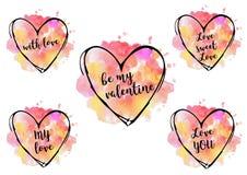 corazones de la acuarela del día del ` s de la tarjeta del día de San Valentín del santo Fotos de archivo