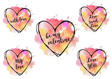 corazones de la acuarela del día del ` s de la tarjeta del día de San Valentín del santo Fotografía de archivo