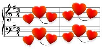 Corazones de la canción de amor Fotografía de archivo libre de regalías