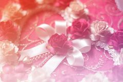Corazones de la flor color de rosa en el fondo de papel rosado, día del valentin, Fotografía de archivo libre de regalías
