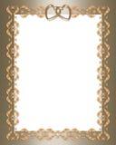 Corazones de la frontera del oro de la invitación de la boda ilustración del vector