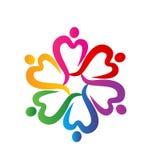 Corazones de la gente alrededor del vector del logotipo Imagen de archivo libre de regalías