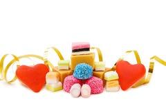 Corazones de la jalea y mezcla rojos de dulces Imágenes de archivo libres de regalías