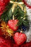 Corazones de la Navidad en la ramificación del abeto Imágenes de archivo libres de regalías