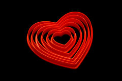 Corazones de la tarjeta del día de San Valentín Fotos de archivo