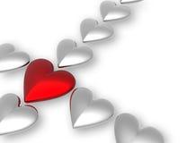 corazones de la tarjeta del día de San Valentín 3D Fotografía de archivo libre de regalías