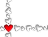 corazones de la tarjeta del día de San Valentín 3D Imágenes de archivo libres de regalías