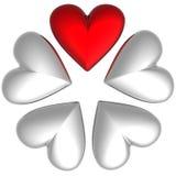 corazones de la tarjeta del día de San Valentín 3D Foto de archivo libre de regalías