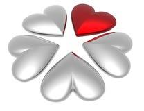 corazones de la tarjeta del día de San Valentín 3D Foto de archivo