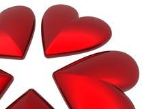 corazones de la tarjeta del día de San Valentín 3D Fotos de archivo libres de regalías