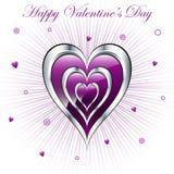 Corazones de la tarjeta del día de San Valentín con el fondo del resplandor solar Imágenes de archivo libres de regalías