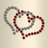 Corazones de la tarjeta del día de San Valentín del diamante en el satén Fotos de archivo libres de regalías