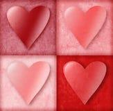 Corazones de la tarjeta del día de San Valentín en rectángulos Fotos de archivo