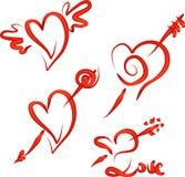 Corazones de la tarjeta del día de San Valentín fijados Imagenes de archivo