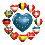 Corazones de la UE Fotos de archivo libres de regalías