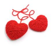 Corazones de lana rojos Foto de archivo
