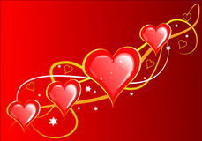 Corazones de las tarjetas del día de San Valentín Fotos de archivo
