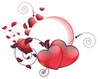 Corazones de las tarjetas del día de San Valentín y elementos florales Foto de archivo libre de regalías