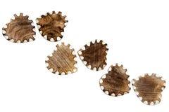 Corazones de madera con los bordes blancos Imágenes de archivo libres de regalías
