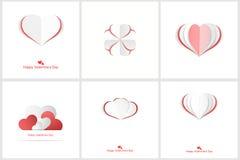 Corazones de Origami Tarjetas felices del día de tarjetas del día de San Valentín Fotos de archivo