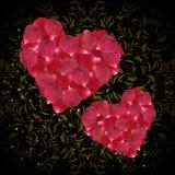 Corazones de pétalos color de rosa rosados Fotografía de archivo libre de regalías