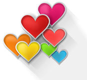 corazones de papel coloridos 3D en el fondo blanco (vect Foto de archivo