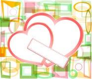 Corazones de papel de la tarjeta del día de San Valentín con la tarjeta de visita en blanco Imagen de archivo libre de regalías