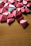 Corazones de papel de Origami Foto de archivo