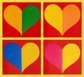 Corazones de papel del color Fotografía de archivo libre de regalías