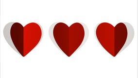 Corazones de papel del lazo de la animación, ideal de la cantidad para el día de tarjeta del día de San Valentín stock de ilustración