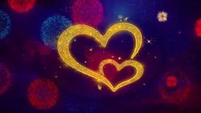 Corazones del amor del d?a de tarjeta del d?a de San Valent?n que saludan part?culas de la chispa del texto en los fuegos artific stock de ilustración